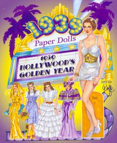 Paper Dolls to wear costumes from great 1939 hit movies.  Front Cover. By David Wolfe, Paperdollywood. Available to purchase from paperdollreview.com