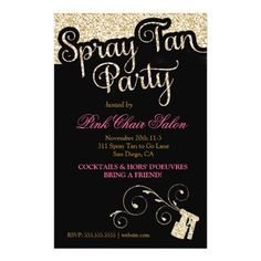 311 Spray Tan Party Flyer Gold Faux Sparkle
