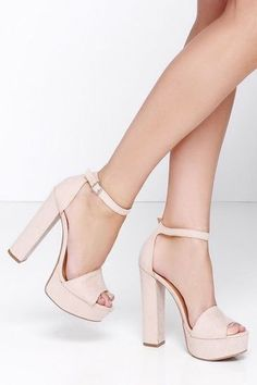 Trendy High Heels For Ladies : Chinese Laundry Avenue 2 Chinese Laundry Heels Beige//Black. Women's Shoes Wom. Fancy Shoes, Cute Shoes, Me Too Shoes, Ankle Strap Heels, Shoes Heels, Suede Heels, Ankle Straps, High Heels Plateau, Prom Heels