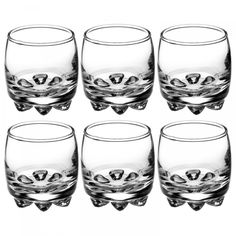 Enjoy a cold shot of whiskey with these Bormioli Rocco Galassia two ounce shot glasses. Made from clear glass, the set of six has a curved design that looks great anywhere. Use them for shots of whiskey, cocktails, and more. Pegged feet offer stability to prevent spills.