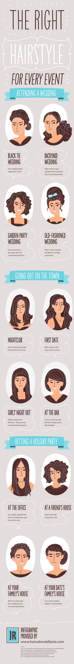 The Right Hairstyle for Every Event #Infographics — Lightscap3s.com