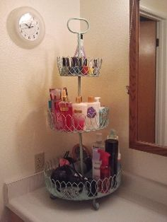 Cake Stand to Bathroom Organizer! Clean Counter tops!
