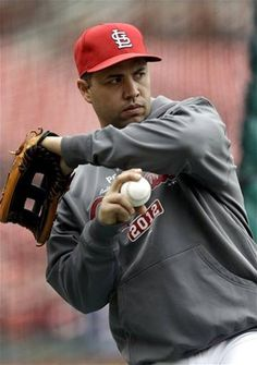 St. Louis Cardinals' Carlos Beltran warms up during baseball practice Saturday, Oct. 6, 2012, in St. Louis. The Cardinals and Washington Nationals are scheduled to play Game 1 in the National League division series on Sunday.