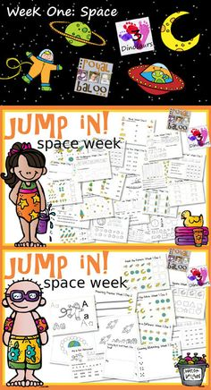Jump In To Summer Learning: Week 1 of 5. Space Themed Printables for Tot, PreK, Kinder and First. Covering Letters, Shapes, Numbers Math & Reading. 3Dinosaurs.com & RoyalBaloo.com