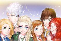 Rapunzel, Jack, Elsa, Anna, Hiccup, and Merida - the Big Four and Arendelle Sisters - Hogwarts au