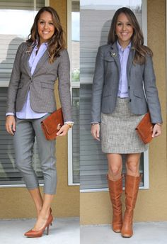 With Gray and Cognac An oxford top looks dashing when paired with gray tweed fabrics, cognac accessories, and a gold brooch. Chambray Outfit, Office Outfits, Office Attire, Power Dressing, Mode Chic, Tweed Fabric, Classic Chic, Office Fashion, Oxford Outfit
