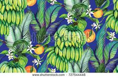 Tropical background with banana leaves, fruit, oranges. Seamless watercolor pattern