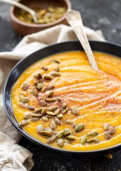 Roasted Butternut Squash and Pumpkin Soup   This thick and creamy fall soup has the perfect balance of sweet and savory flavors! Gluten free, vegan and paleo.
