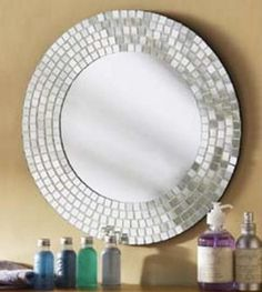 Do to round mirror in dining room . . . Tiles, modge podge, brilliance!!