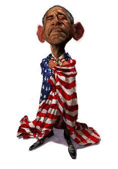 Barack Obama by Tom Fluharty Funny Caricatures, Celebrity Caricatures, Barack Obama, Character Drawing, Character Design, Caricature Drawing, Black Cartoon, Political Art, Hip Hop Art