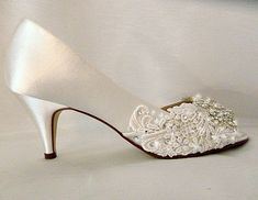 Missy... Satin Low Heel Peep Toe wedding shoes with embroidered Lace and Swarovski crystals