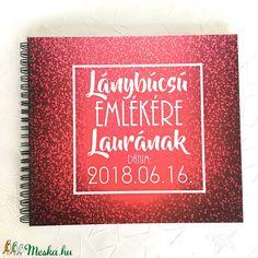 Lánybúcsú ajándék emlékkönyv - Rózsazín Prémium egyedi album - emlék a menyasszonynak - füzet / napló - 21x19cm (OromKonnyek) - Meska.hu Album, Card Book