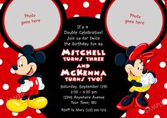 When your child so much love Mickey Mouse, considering Mickey Mouse as his party theme will be awesome. Everybody know Mickey Mouse whether it's adult or kids. Mickey Mouse gives some inspiration and fertile topic to work with when planning Mickey Mo Mickey Mouse Clubhouse Invitations, Mickey Mouse Birthday Invitations, Personalized Birthday Invitations, Mickey Mouse Clubhouse Birthday Party, Mickey Birthday, Birthday Invitation Templates, Party Invitations, Invitation Wording, Invitation Ideas