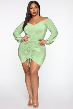 Available In Wine, Black, Red, Green, and LavenderRuched Mini DressDrawstringOff ShoulderBlouson Polyester SpandexImported Green Fashion, Autumn Fashion, Mint Green Outfits, Sexy Women, Curvy Women, Black Women, Women's Shapewear, Plus Size Beauty, Plus Size Model