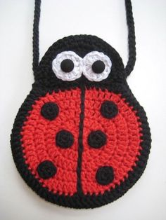 Crochet bags, Two Ladybirds Mummy and Baby, Pattern in both UK and US crochet terms Bead Crochet, Cute Crochet, Half Double Crochet, Single Crochet, Crochet Square Patterns, Crochet Ideas, My Other Bag, Yarn Stash, Baby Patterns