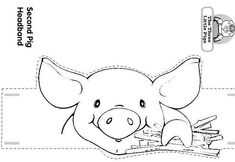Craft a Three Little Pigs and the Wolf Headband/ Pig with a House of Wooden Sticks......Themed Storytime.... by Luisa Robles Three Little Pigs and the Wolf