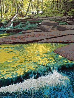 "Linoleum block print by William H. Hays of Stickneybrook in southern Vermont. The title is ""Stickneybrook."""