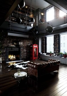 via heavywait - modern design architecture interior design home decor & Industrial Interior Design, Industrial House, Industrial Interiors, Office Interior Design, Interior Design Inspiration, Interior Design Living Room, Design Ideas, Industrial Chic Decor, Interior Livingroom