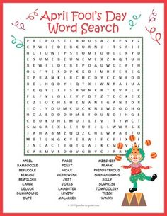 April Fool's Day Word Search Puzzle:A word search puzzle featuring 27 vocabulary words that might come in handy on April Fool's Day.  Students will be building vocabulary and reviewing spelling while having fun hunting for the words.  Word search puzzles makes great handouts for early finishers or for a treat to take home.