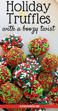 Holiday Truffles with a Boozy Twist Learn this chef secret for incredibly smooth and delicious truffles. And then add a few twists to make them PERFECT for your celebrations! Holiday Candy, Holiday Cookies, Holiday Baking, Christmas Candy, Christmas Desserts, Holiday Treats, Christmas Treats, Christmas Baking, Christmas Stuff