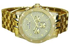 Mens Diamond Watch Ice Time Gold Tone Storm 48mm Diamond Cut Dial 0.10ctw Diamond #MidwestJewellers