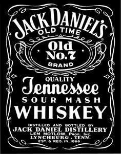 Jack Daniels, Tennessee, Whiskey, Old, black and white, logo, drink,