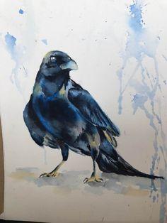 """""""Raven"""" watercolor by T.Heinz"""