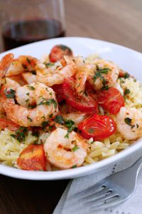 !!!!!!! ... Tomato-Basil Shrimp with Orzo... note from pam: maybe toss pasta in a some olive oil, basil, and garlic before mixing with other ingredients. used olive oil in place of butter for recipe and no red pepper flakes