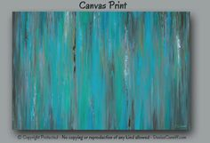 Large abstract wall art for teal blue, teal green and gray home or office decor by Denise Cunniff - ArtFromDenise.com. View more info at https://www.etsy.com/listing/238561846