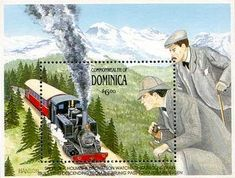 Detective Fiction on Stamps: Dominica, Sherlock Holmes, Cog Trains of Switzerland Sherlock Holmes, Crown Colony, Trains, Caribbean Sea, Baker Street, Mount Rushmore, Fiction, Around The Worlds, Arthur Conan