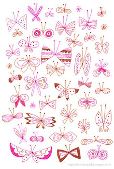 Butterfly doodles from Happy Doodle Land