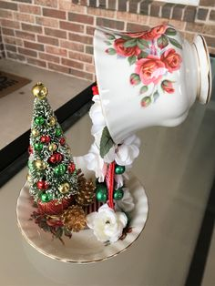Holiday Tablescape, Royal Albert Holiday Centerpiece, Centennial Christmas Rose Centerpiece, Xmas Tree Collectible, Small Space XmasDecor by SantasSecretShop on Etsy Holiday Tree, Holiday Wreaths, Holiday Ornaments, Xmas Tree, Holiday Tablescape, Christmas Tablescapes, Rose Centerpieces, Holiday Centerpieces, Teacup Crafts