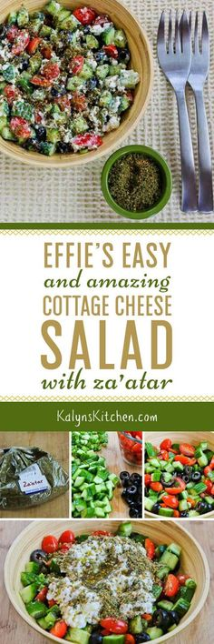 A reader named Effie sent me this amazing recipe (from Israel!) so I named it Effie's Easy and Amazing Cottage Cheese Salad with Za'atar. If you like middle eastern flavors, you'll love this low-carb, gluten-free, vegetarian, and South Beach Diet friendly salad! [found on KalynsKitchen.com]: