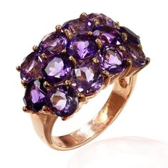 A Sterling Silver ring with the high quality Amethysts.
