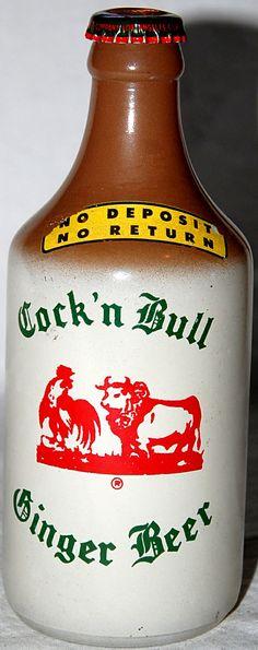 """Vintage Glass Ginger Beer Bottle """"COCK'N BULL"""" Muscow Mule 12 oz. 1946. $7.99, via Etsy."""