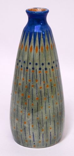 Luster-glazed polychrome vase with geometric decoration by Chris Lanooij for Haga Purmerend, ca. 1906