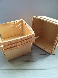 These super cute containers are just perfect for all kinds of gifts or favors. Just add a little ribbon and they are a adorable and creative way to deliver any gift. Each basket measures approximately 5-1/8 x 5- 1/8 x 3- 1/8 and are made of a light colored biodegradable wood.   In this listing you will receive 12 baskets.