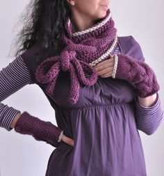 Wrap Yourself - handknit superchunky cabled scarf and fingerless gloves
