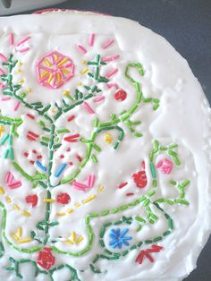 Decorate with sprinkles - embroidery look...it would be a lot of work, but it is so cute!