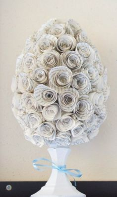 DIY Easter Egg Paper Rose Topiary