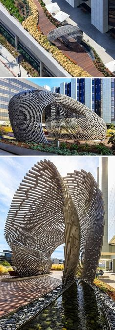 This modern sculptural pavilion by Ball Nogues Studio, is fabricated from 2793 linear feet of 2-inch diameter mild steel tube that were bent with a computer numerically controlled rolling system. In total, there are 352 individual tubes that are unique in their design and together they form a structural shell.