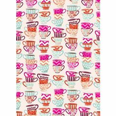 Charmed, I'm sure!  Colorful, vintage inspired tea cups adorn our new Tea Cups Wrapping Paper. cup wrap, cups, pattern, teas, wrap paper, papers, tea cup, teacup, wrapping
