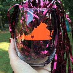 Virginia Tech Stemless Wine Glass  Orange and by culleycreations