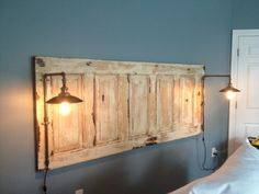 King size natural headboard with lights