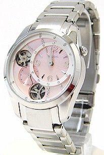 Joylot.com Ladies Fossil ME1008 Mechanical Twist Pink Dial Stainless Steel Dress Watch 531147928