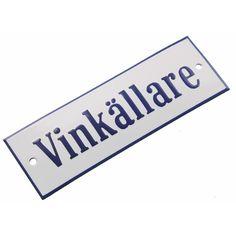 Emaljskylt Vinkällare vit - koboltblå 15 x 5 cm modell 3