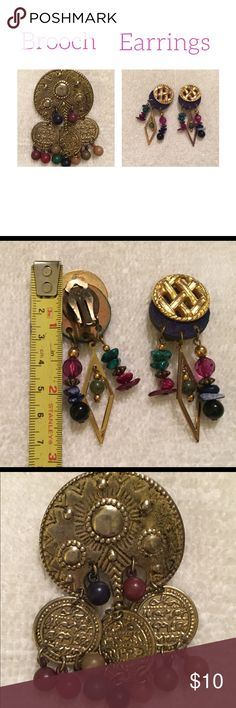 Vintage clip on earrings & Brooch Earrings are almost 3 inches Brooch about 2 inches. Bought both in the 70's there is a ball missing Jewelry