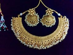 Gold Plated Indian Necklace | Gram Gold Pearl Necklace | Indian Choker necklace | South India Necklace by Fashionkali on Etsy https://www.etsy.com/listing/268264433/gold-plated-indian-necklace-gram-gold