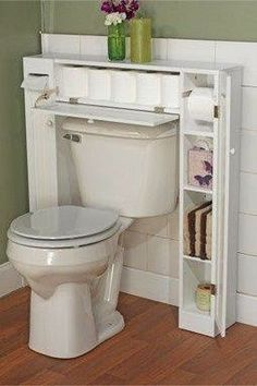 20 bathroom storage over toilet organization ideas. You have a small bathroom and you don't have idea how to design it? A small bathroom can look great and be fully functional as the large bathrooms. Over The Toilet Cabinet, Diy Casa, Small Bathroom Storage, Small Bathrooms, Modern Bathrooms, Small Kitchens, Bedroom Storage, Organization For Small Bathroom, Space Saving Bathroom