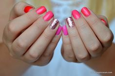 Red to Pink Ombre Manicure Nails Glitter Accent OPI    From ducklingtoswan.com